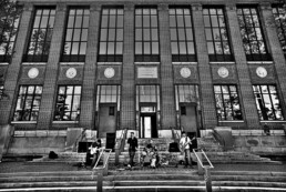 Jovian Jam perform on the steps of Hatcher Grad Library in Ann Arbor
